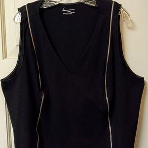 Lane Bryant Plus Size V-Neck Black Zipped Top